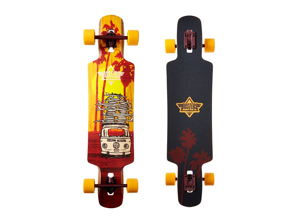 Dusters - Quiver Longboard (Yellow/Maroon) Skateboards Sports Equipment
