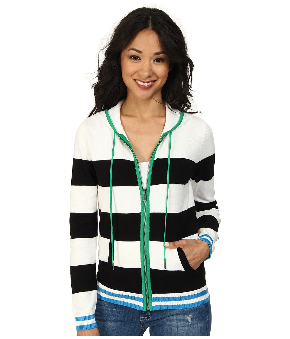 TWO by Vince Camuto - Jersey Stripe Full Zip Hooded Sweater (New Ivory) Women