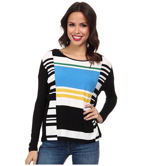 TWO by Vince Camuto - Boxy Sporty Engineered Stripe Top (Rich Black) Women