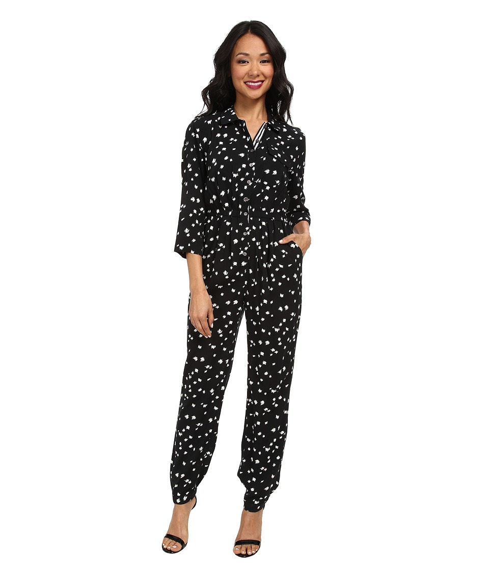 TWO by Vince Camuto - Feathered Dash 3/4 Sleeve Utility Jumpsuit (Rich Black) Women