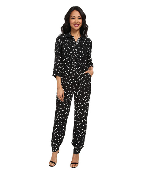 TWO by Vince Camuto - Feathered Dash 3/4 Sleeve Utility Jumpsuit (Rich Black) Women's Jumpsuit & Rompers One Piece