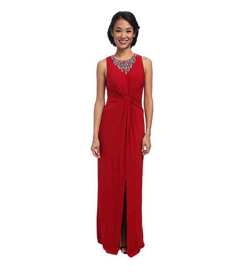 Vince Camuto - Ity Gown Twist Front and Beaded Neckline (Red) Women