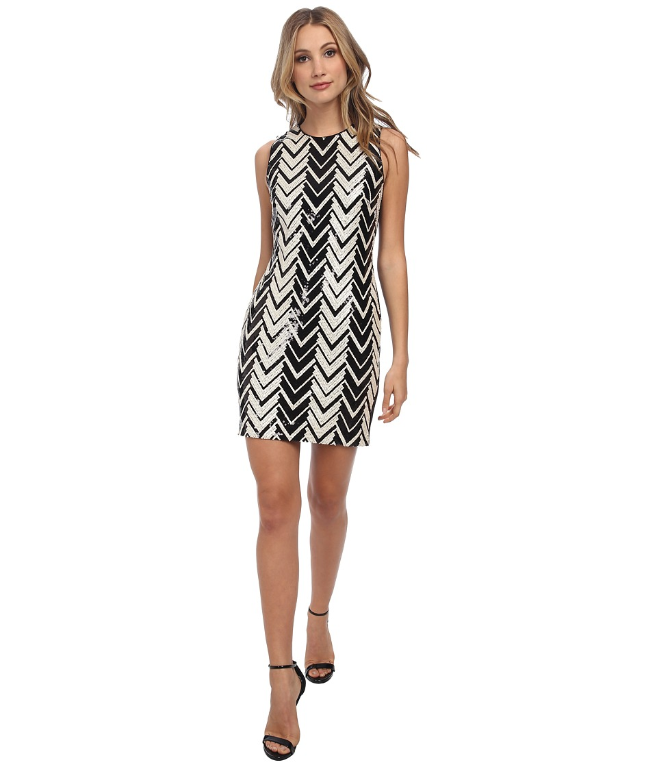 Vince Camuto - Chevron Sequins w/ Solid Scuba Back (Black/White) Women's Dress