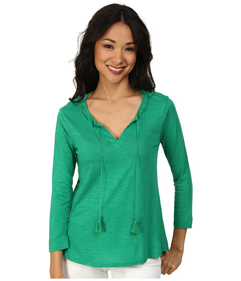 TWO by Vince Camuto - 3/4 Sleeve Peasant Top w/ Tassel Tie (Garden Green) Women's Clothing