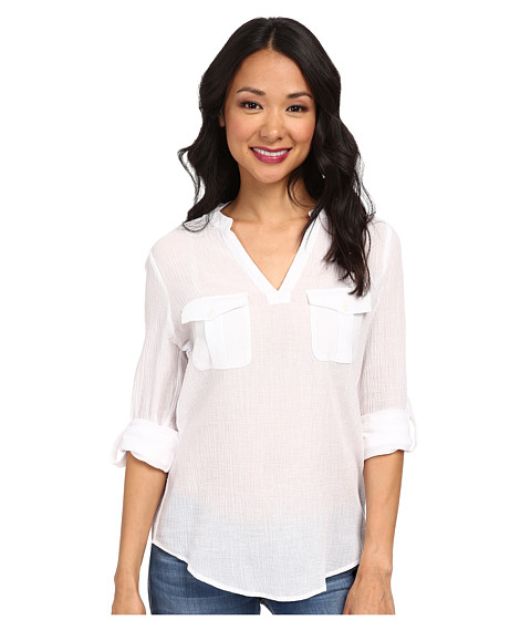 TWO by Vince Camuto - Long Sleeve Solid Split Neck Tunic (Ultra White) Women's Blouse