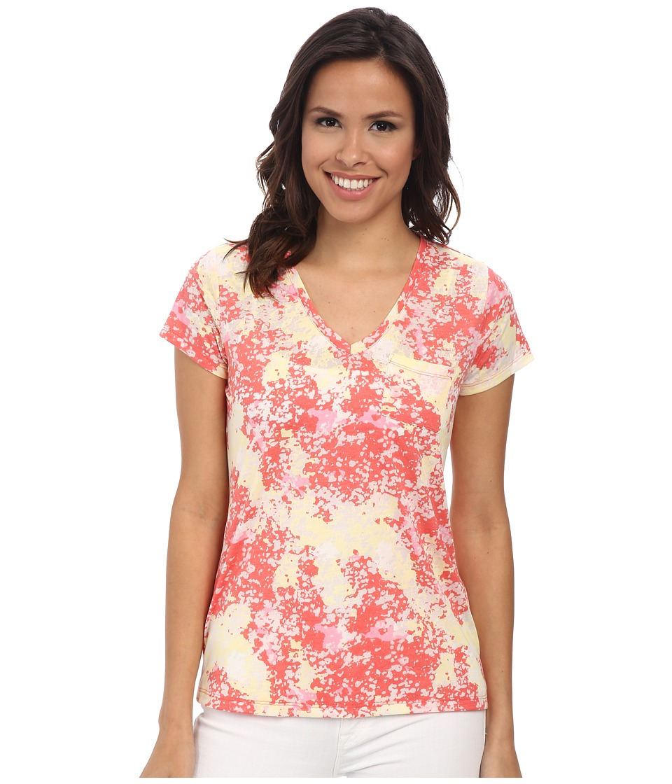 TWO by Vince Camuto - Short Sleeve Billowing Texture One-Pocket Tee (Canyon Coral) Women
