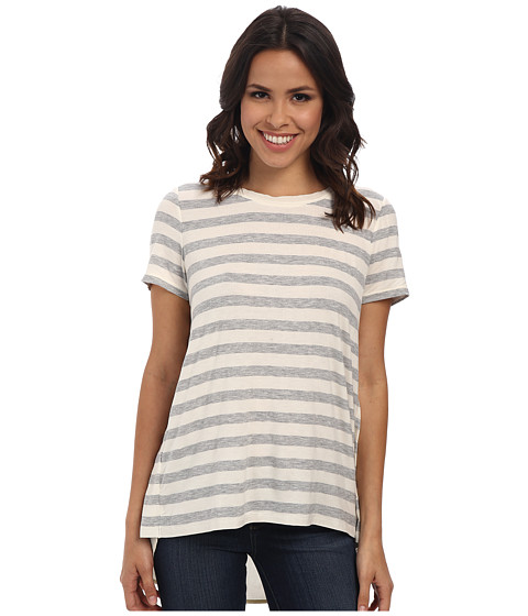 TWO by Vince Camuto - Split Back Stripe Tee w/ Woven Shirt Tail (Chalk) Women's T Shirt