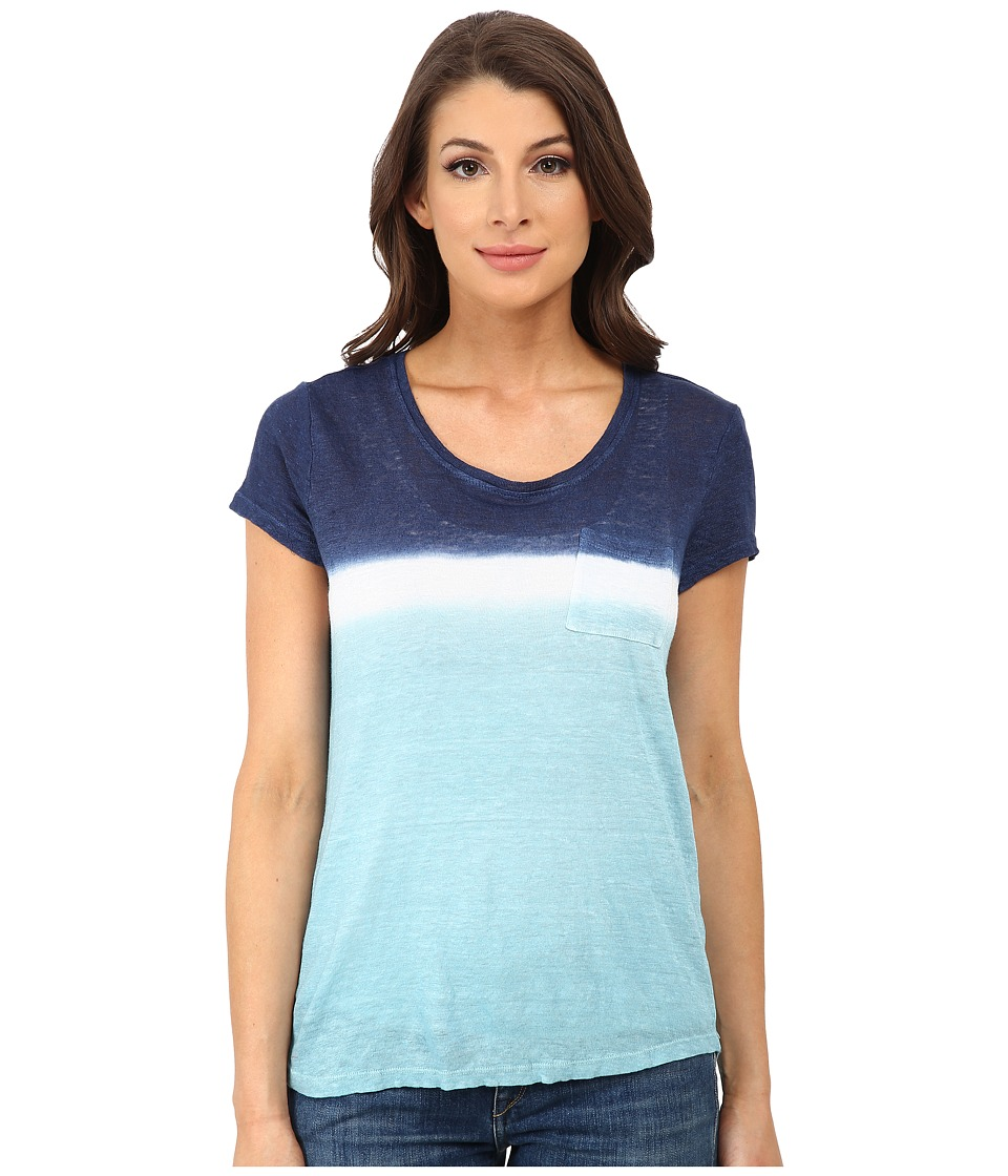 TWO by Vince Camuto - Short Sleeve Pier Dip Dye One Pocket Linen Tee (Pale Turquoise) Women's T Shirt