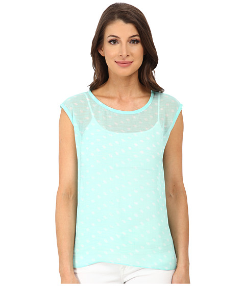TWO by Vince Camuto - Short Sleeve Stamped Polka Dot Split Back Tee (Pale Turquoise) Women