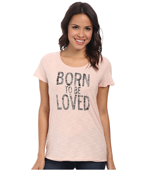 TWO by Vince Camuto - Short Sleeve Cotton Slub Born To Be Loved Tee (Rose Smoke) Women