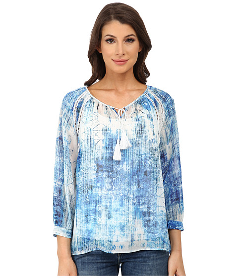 TWO by Vince Camuto - Diffused Damask Peasant Top (Ocean) Women