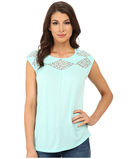 TWO by Vince Camuto - Floral Lace Yoke Crew Neck Top (Pale Turquoise) Women's Clothing