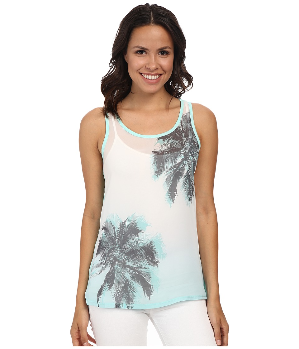 TWO by Vince Camuto - Sleeveless Chiffon Breezy Palms Tank (Pale Turquoise) Women's Sleeveless