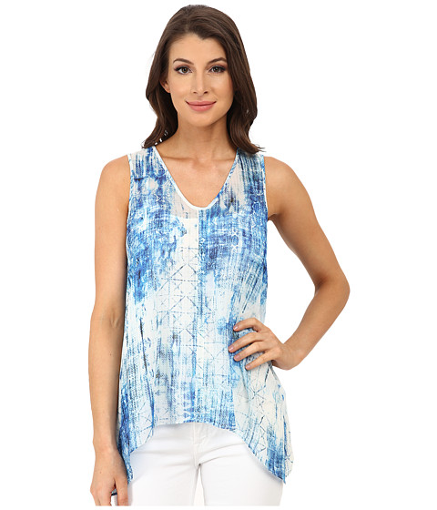 TWO by Vince Camuto - Sleeveless Diffused Damask Split Back Tank (Ocean) Women