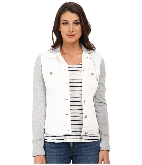 TWO by Vince Camuto - French Terry Hooded White Denim Jacket (Ultra White) Women's Coat