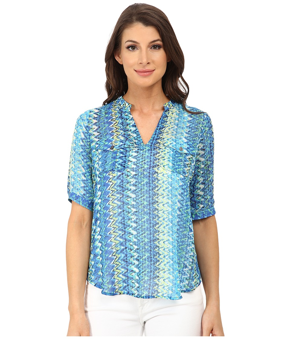 TWO by Vince Camuto - Short Sleeve Ikat Chevron Split Neck Tunic (Ocean) Women