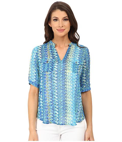 TWO by Vince Camuto - Short Sleeve Ikat Chevron Split Neck Tunic (Ocean) Women's Blouse