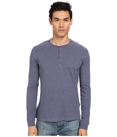 Vince - Pima Long Sleeve Henley (Heather Baltic Blue) Men's Long Sleeve Pullover
