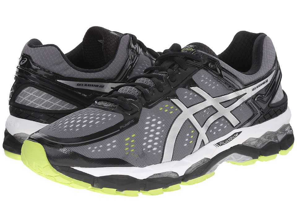 ASICS - GEL-Kayano 22 (Charcoal/Silver/Lime) Men's Running Shoes