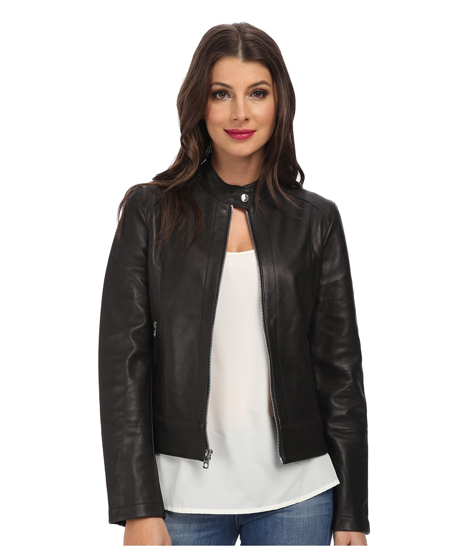 Cole Haan - 21 Stretch Sing Breasted Moto Jacket (Black) Women's Coat