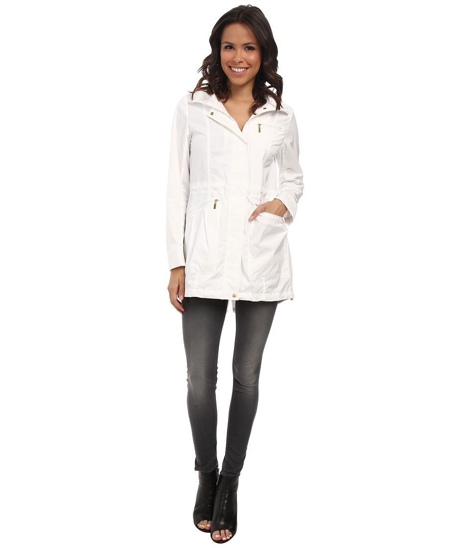 Cole Haan - 34 Single Breasted Rain Jacket (Optic White) Women's Coat