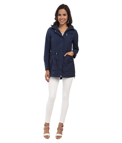 Cole Haan - 34 Single Breasted Rain Jacket (Ink Blue) Women's Coat
