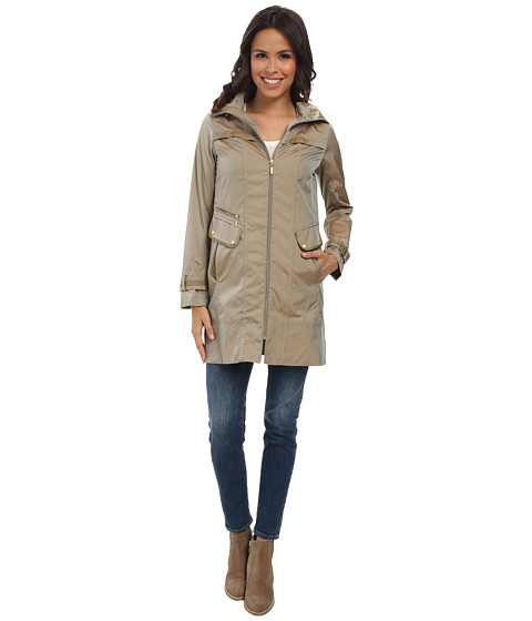 Cole Haan - 34 Single Breasted Hooded Raincoat (Taupe) Women's Coat