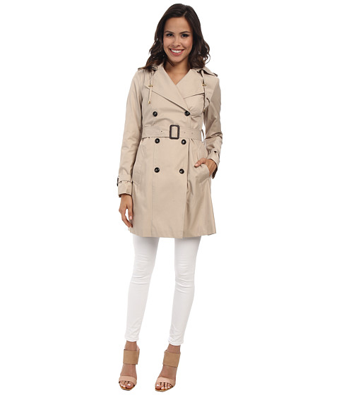 Cole Haan - 35 1/2 Double Breasted Hooded Trench (Sand) Women