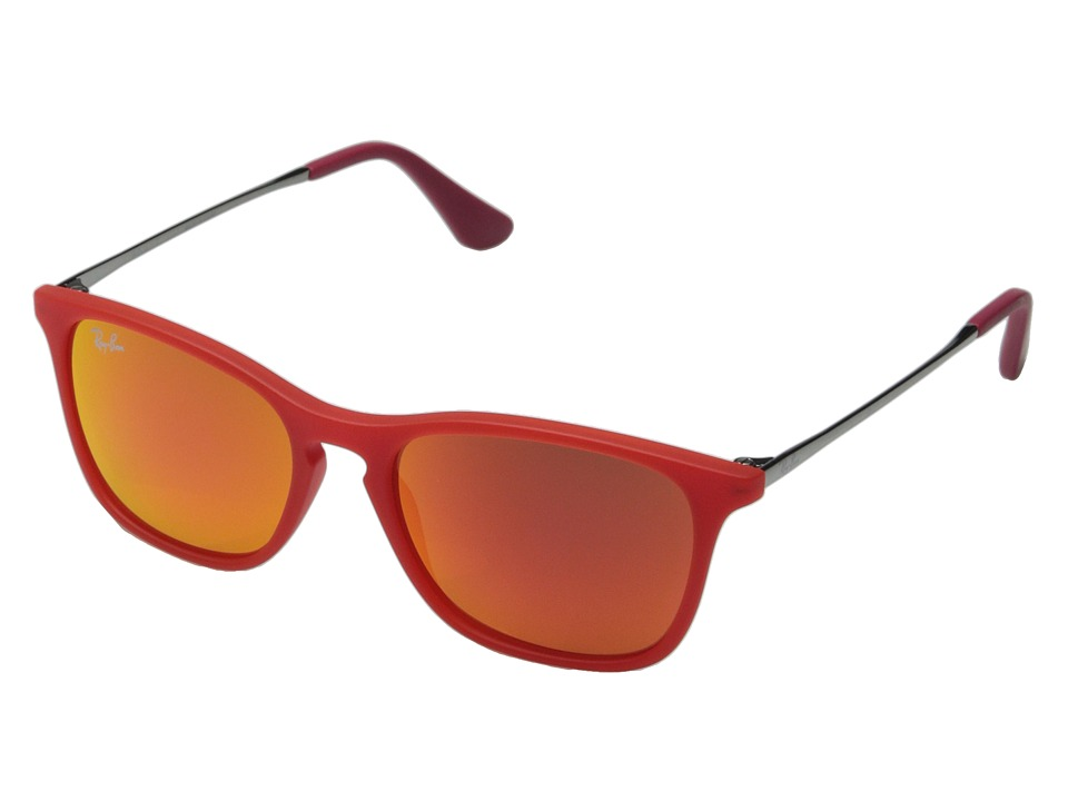 Ray-Ban Junior - 0RJ9061S Chris 49mm (Youth) (Red Rubber/Red Mirror) Fashion Sunglasses