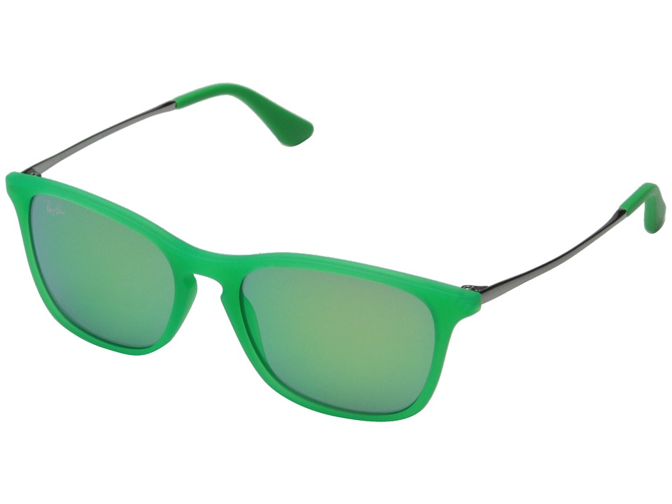 Ray-Ban Junior - 0RJ9061S Chris 49mm (Youth) (Green Rubber/Green Mirror) Fashion Sunglasses