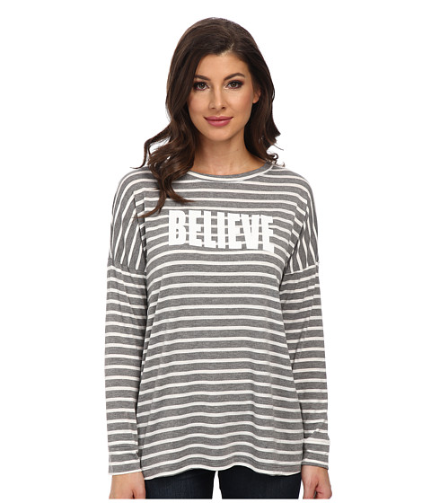 CJ by Cookie Johnson - Drop Shoulder Top (Heather Grey/Believe/White) Women's Long Sleeve Pullover