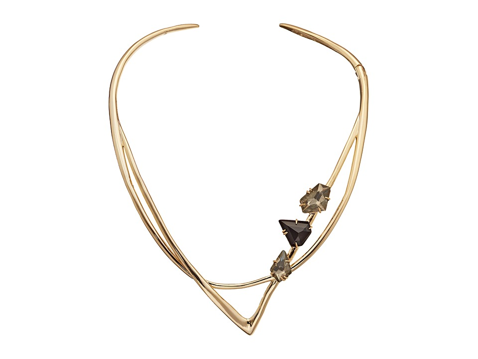 Alexis Bittar - Geometric Hinge Collar w/ Floating Pyrite Doublets Fancy Black Crystal Shield Necklace (10K Gold) Necklace
