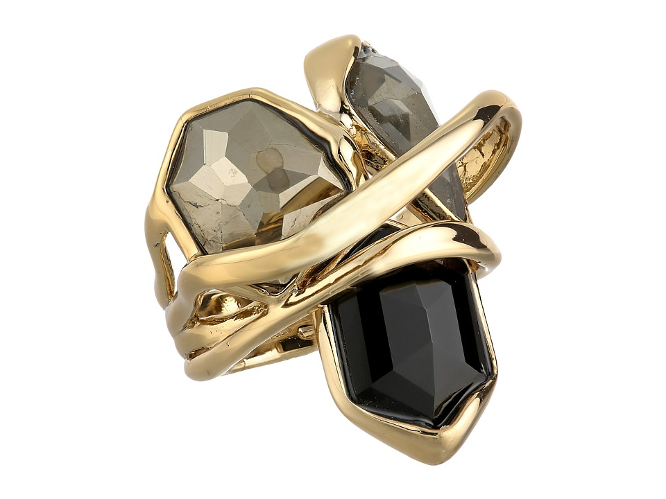 Alexis Bittar - Multi-Stone Orbit w/ Fancy Pyrite, Pyrite Crystal Doublet Black Crystal Kite Ring (10K Gold) Ring