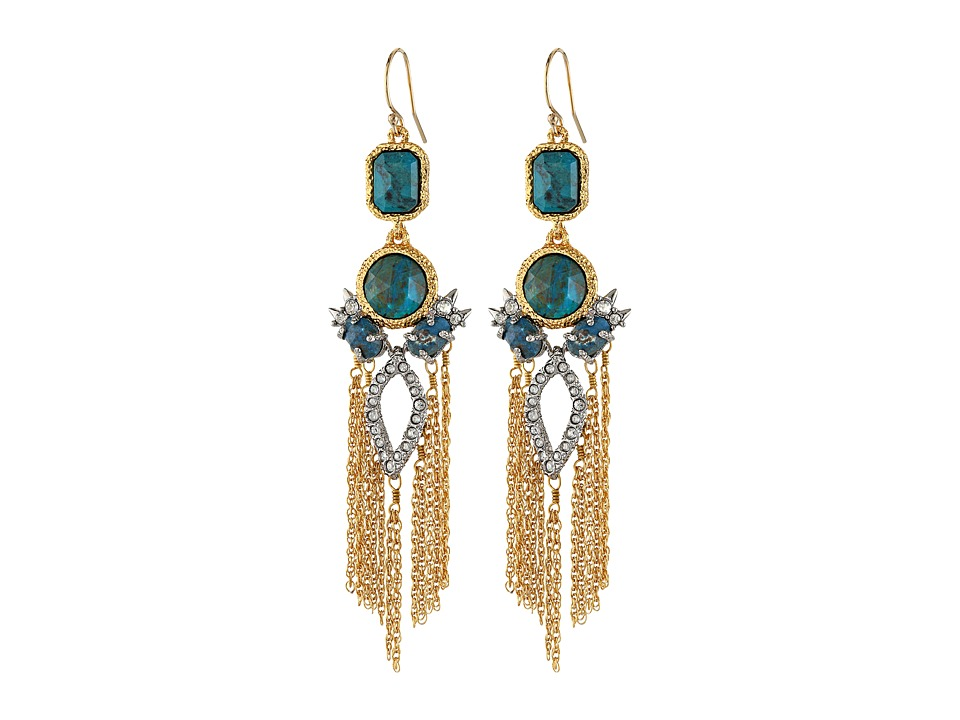 Alexis Bittar - Crystal Studded Tassel w/ Rose Cut Chrysocolla Earrings (18k Gold/Rhodium) Earring