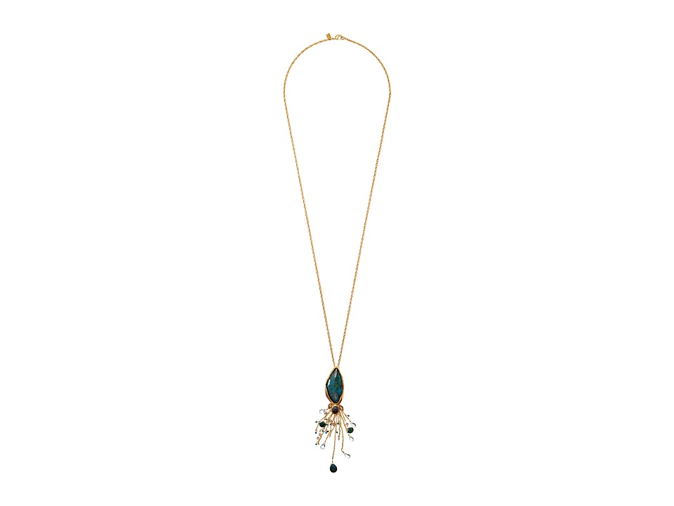 Alexis Bittar - Tassel Pendant w/ Rose Cut Chrysocolla Apatite Chrysocolla Briolettes Necklace (18k Gold) Necklace