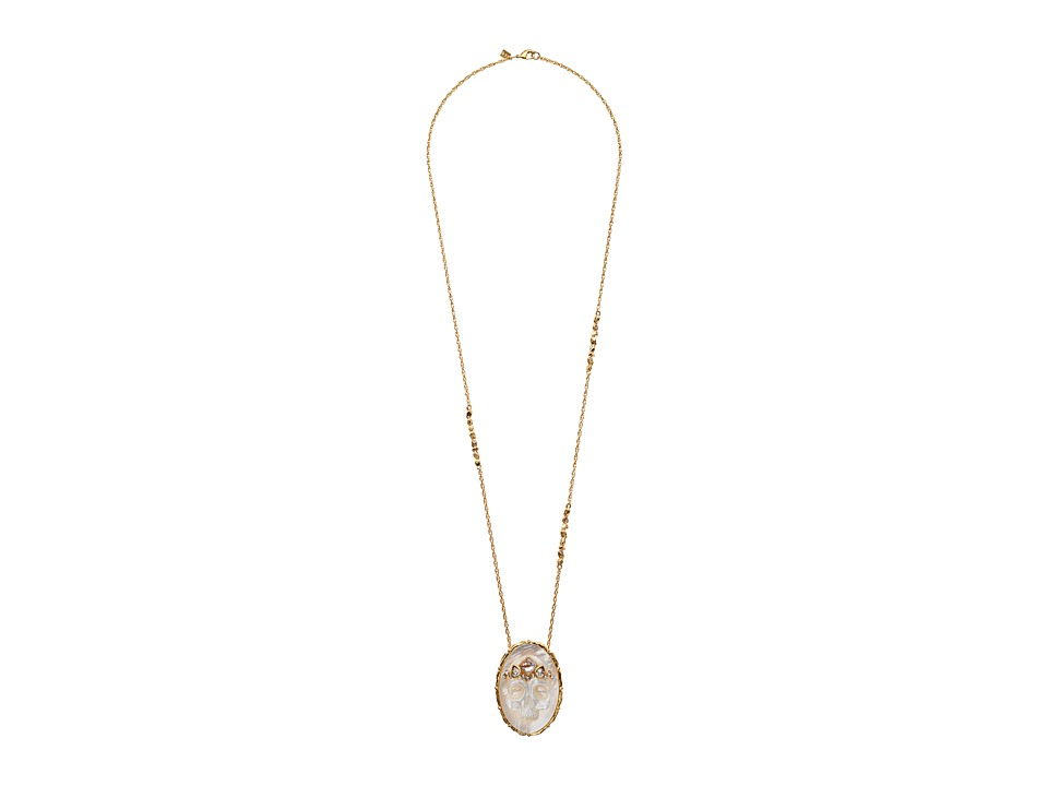 Alexis Bittar - Mother Of Pearl Skull Cameo Pendant w/ Crystal Studded Crown Necklace (18k Gold) Necklace