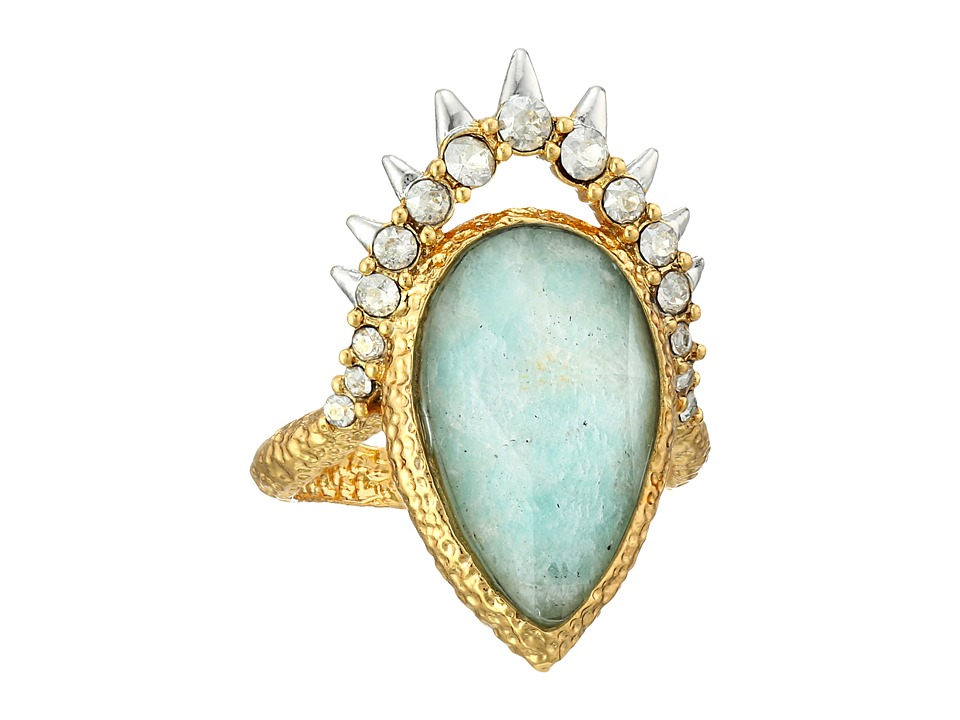 Alexis Bittar - Crystal Studded Spur Framed Amazonite Crystal Doublet Ring (18k Gold/Rhodium) Ring