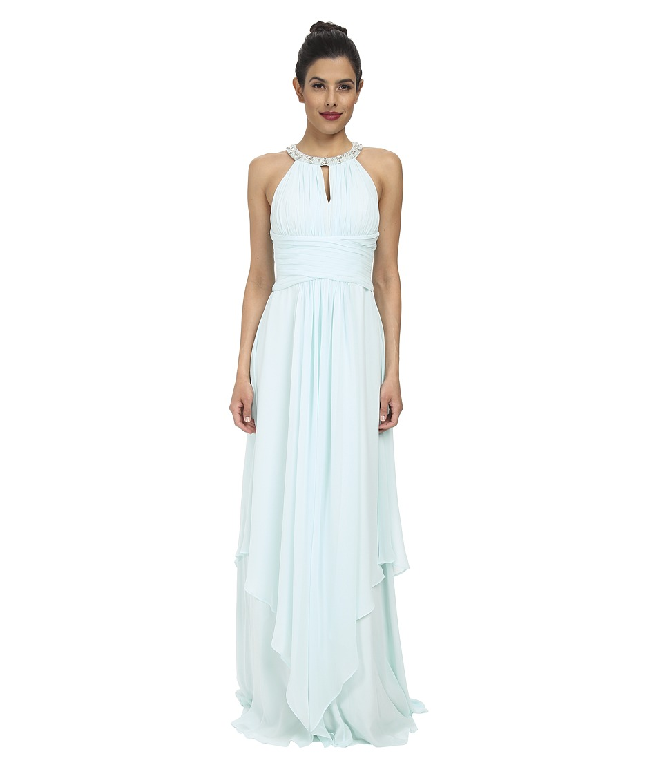 Donna Morgan - Siena Beaded Halter Long Gown (Beachglass) Women's Dress