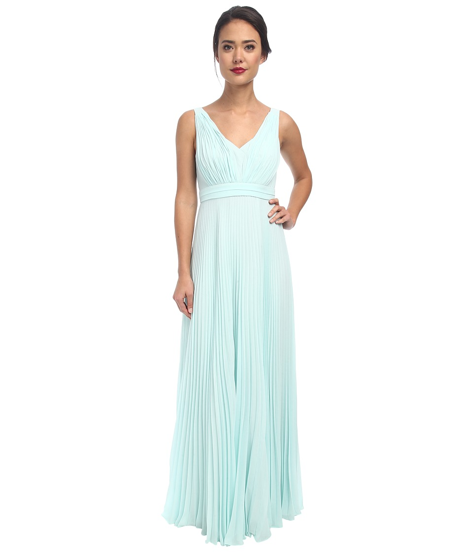 Donna Morgan - Giselle Long Pleated Chiffon (Beachglass) Women's Dress