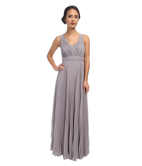 Donna Morgan - Giselle Long Pleated Chiffon (Sterling) Women