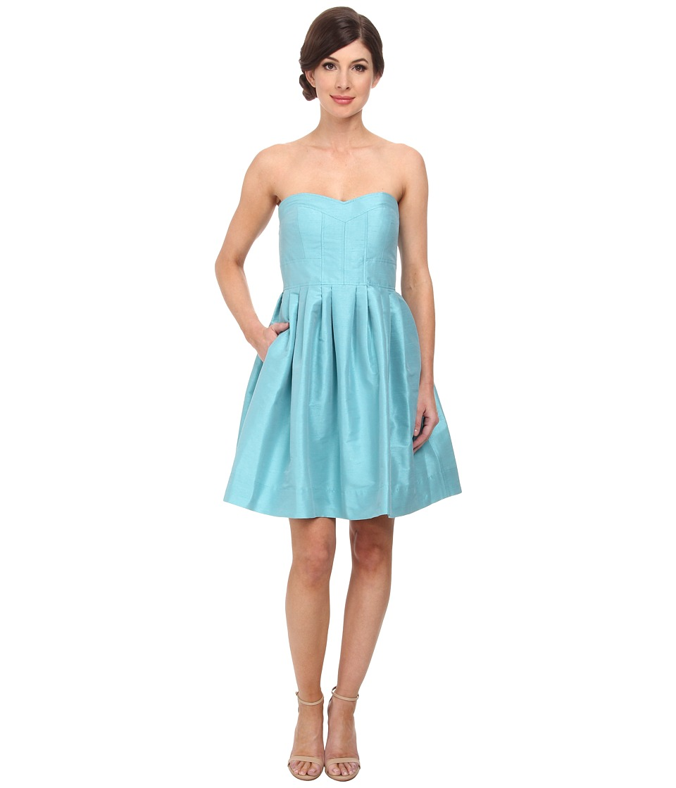 Donna Morgan - Madison Seamed Bodice Strapless Shantung (Turquoise) Women's Dress