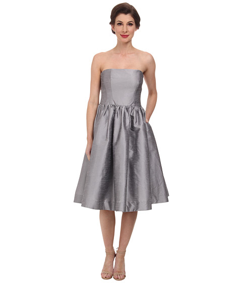 Donna Morgan - Georgina Full Skirt Strapless Shantung (Graphite) Women