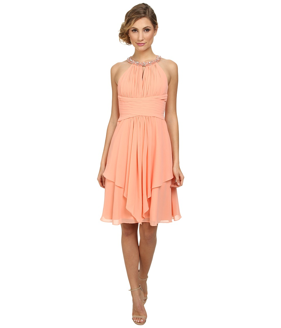 Donna Morgan - Sophie Beaded Halter Dress (Peach Fuzz) Women's Dress