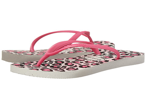 Havaianas - Slim Animals Flip Flops (White/Rose 2) Women