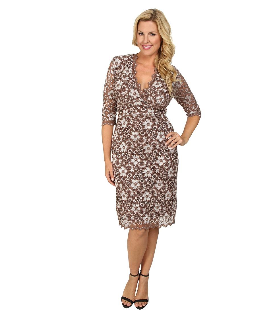 Kiyonna - Scalloped Boudoir Lace Dress (Caf /Cr me) Women's Dress
