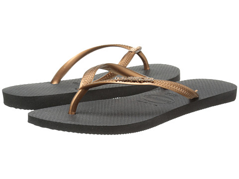 Havaianas - Slim Logo Metallic Flip Flops (Black/Copper) Women