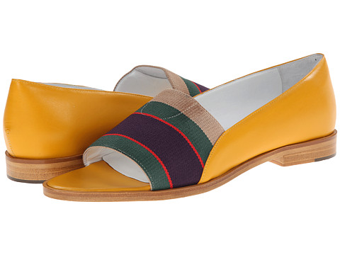 Band of Outsiders - Elastic Loafer Peep Toe Flat (Marigold) Women's Flat Shoes