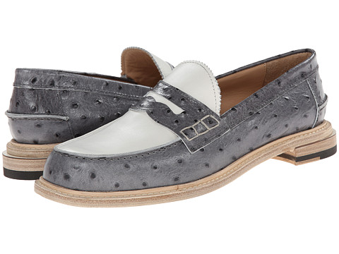 Band of Outsiders - Slipped Heel Penny Loafer (Grey) Women's Slip on Shoes