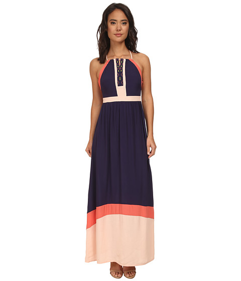 Brigitte Bailey - Deux Color Block Maxi Dress (Black/White/Coral) Women's Dress