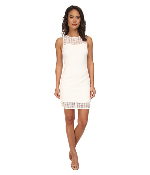 Brigitte Bailey - Trois Textured Dress w/ Lace (White) Women's Dress